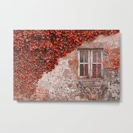 Red Ivy Wall Metal Print