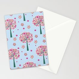 Pink Trees Floral Background Pattern Cutest Stationery Cards