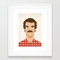 tom selleck Framed Art Prints featuring Tom Selleck by Sezgi Abat