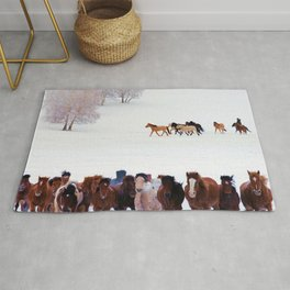 horses in snow photography2 Rug