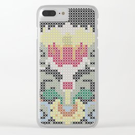 Real Cross Stitchable Pattern -- Renaissance Floral Color Coded Chart Clear iPhone Case