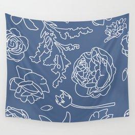 Peony Print (Navy) Wall Tapestry