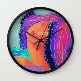 Woman at the Beach Abstract Digital Painting Wall Clock