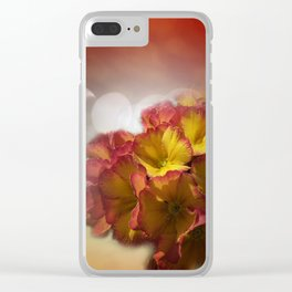 primroses with bokeh Clear iPhone Case