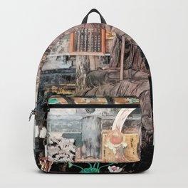 Spiritual Japanese Buddha statue texture Backpack