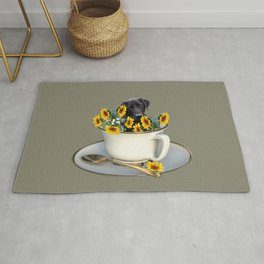 Labrador retriever with coffee cup of sunflowers Rug