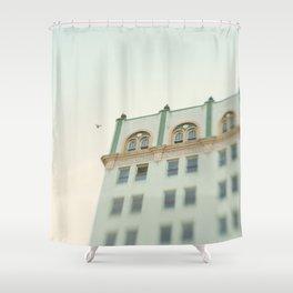Seafoam Green Building Shower Curtain