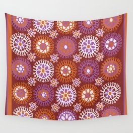 Flower Doodles Russet/Orange, circles and flower pattern Wall Tapestry