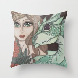Fairy and Dragon Throw Pillow