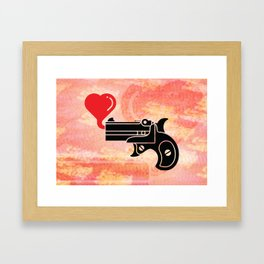 Pistol Blowing Bubbles of Love Framed Art Print