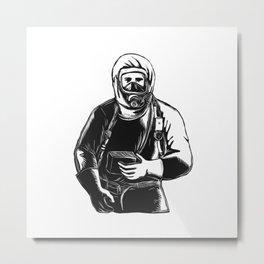 EMT Wearing Hazmat Suit Scratchboard Metal Print