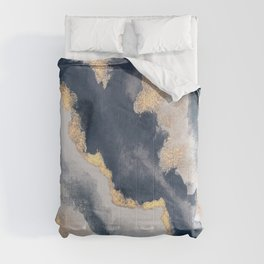 All that Shimmers – Gold + Navy Geode Comforters