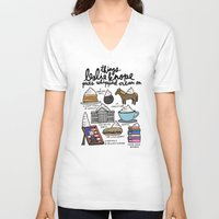 leslie knope V-neck T-shirts featuring Things Leslie Knope puts Whipped Cream on by Liana Spiro
