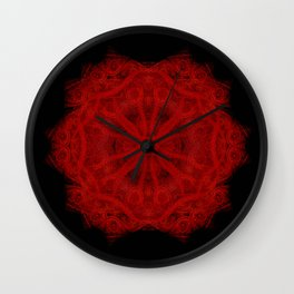Red Velvet Mandala Wall Clock