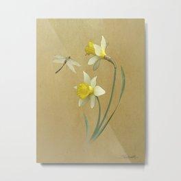 Daffodil and Dragonfly Metal Print