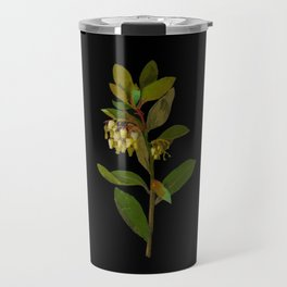 Arbutus Unedo Mary Delany Delicate Paper Flower Collage Black Background Floral Botanical Travel Mug