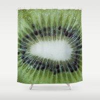 kiwi Shower Curtains featuring Kiwi by B.P.