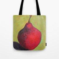 stark Tote Bags featuring Stark Crimson by Suzy Kitman Fine Art