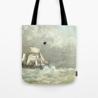 palestine Tote Bags featuring Breaking Waves by anipani