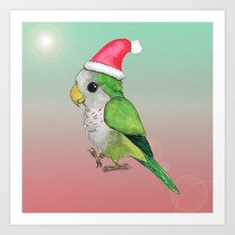 Green Christmas parrot Art Print