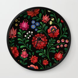 Hungarian flowers Wall Clock