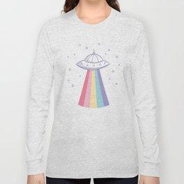 Colorful rainbow space ufo Long Sleeve T-shirt