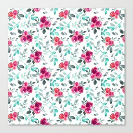 Watercolor fuchsia turquoise hand painted floral Canvas Print