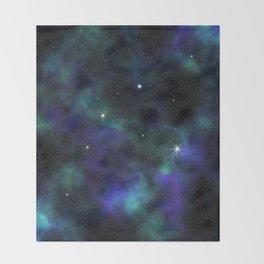 Blue Green Galaxy Throw Blanket