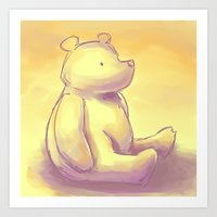 pooh Art Prints featuring Pooh Bear by Jennifer Kathryn Lee