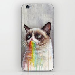 Cat Tastes the Grumpy Rainbow iPhone Skin