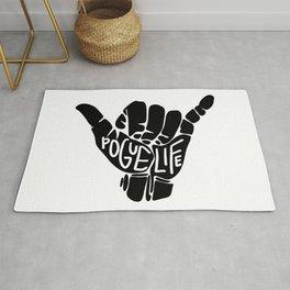 pogue life shaka hand in black (outer banks) Rug