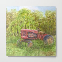 Old Massey Harris 55 tractor in rural France Metal Print