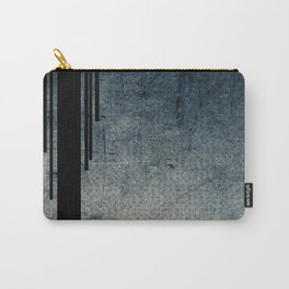 Geometric Grunge Blue - Gray Vertical Black Stripes Polka Dots Illustration Carry-All Pouch