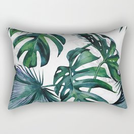 Tropical Palm Leaves Classic on Marble Rectangular Pillow