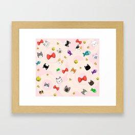 Cat Pattern Pink Framed Art Print