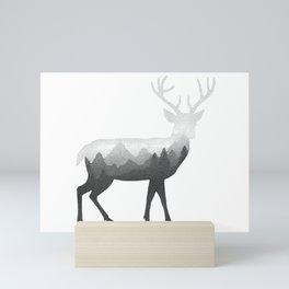 Deer Stag Elk Double Exposure Surreal Wildlife Animal Mini Art Print