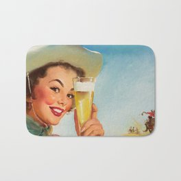Pin Up Girl and Beer Vintage Art Bath Mat