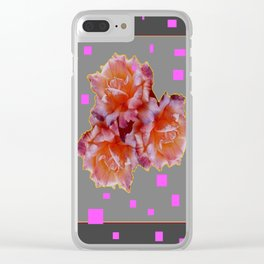 Grey & Violet Design & Old Rose flowers Pattern Art Clear iPhone Case