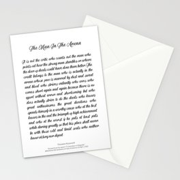The Man In The Arena by Theodore Roosevelt Stationery Cards