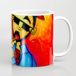 Musician against red background with blue piano keys Coffee Mug