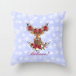 Believe Typography Christmas Deer Head Poinsettia Throw Pillow