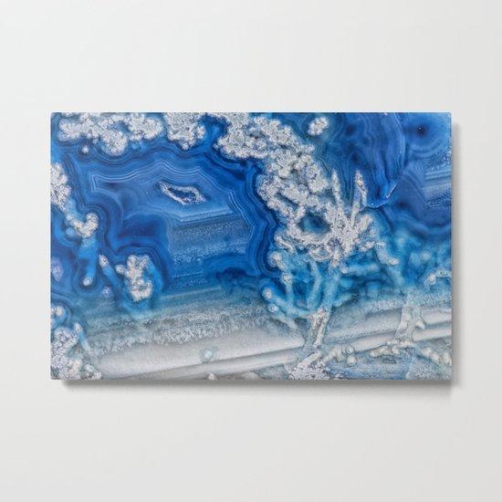 Blue whte agate crystal Metal Print