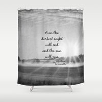 les miserables Shower Curtains featuring Les Miserables Quote Victor Hugo by KimberosePhotography