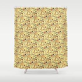 Yellow Taj Mahal Marble Flowers Shower Curtain