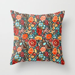 Bright Red and Cyan Scruffy Small Scale Floral Throw Pillow