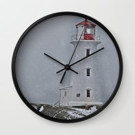Peggy's Point Lighthouse Snowstorm Wall Clock