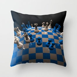 chess fantasy blue Throw Pillow
