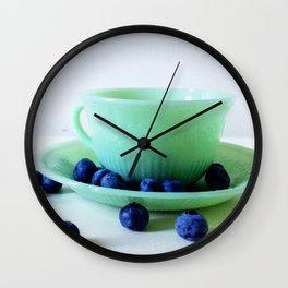 Retro Breakfast - Jadite and Blueberries Wall Clock