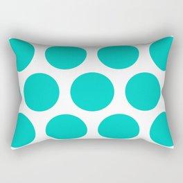Large Polka Dots: Aqua Blue Rectangular Pillow