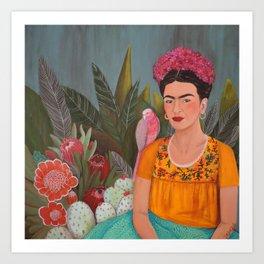 Frida a la casa azul Art Print